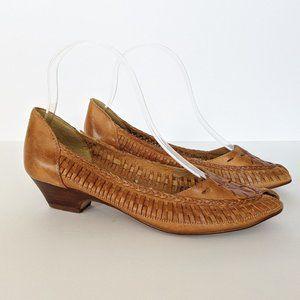 Vintage Coasters Woven Tan Slip-On Leather Heels